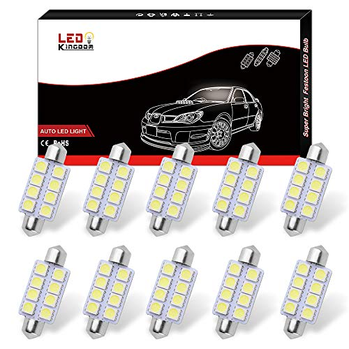 10pcs 6000K White T10 192 158 Wedge SMD LED Interior Dome Map License Light bulb